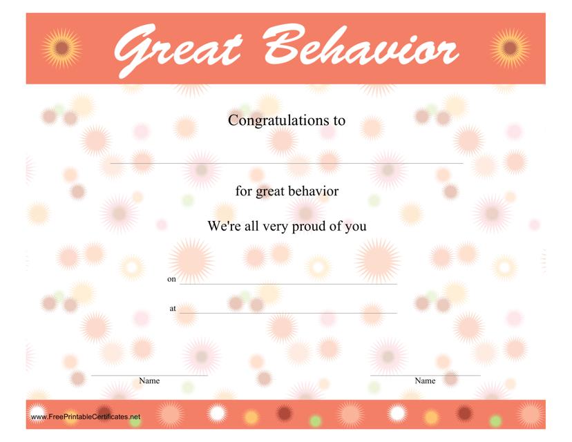"""Great Behavior Certificate Template"" Download Pdf"