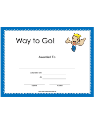 Way to Go Award Certificate Template