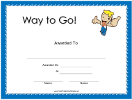 """Way to Go Award Certificate Template"""