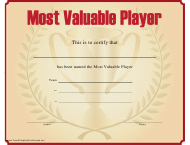 """""""Most Valuable Player Certificate Template"""""""