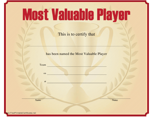 """""""Most Valuable Player Certificate Template"""" Download Pdf"""