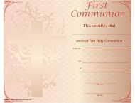 """First Holy Communion Certificate Template"""
