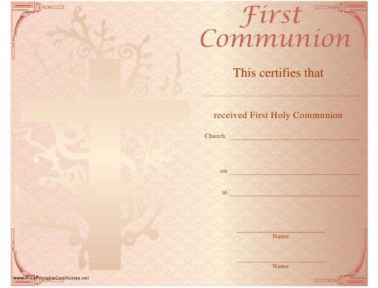 """First Holy Communion Certificate Template"" Download Pdf"