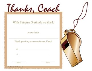 """Coach Thank You Certificate Template"""