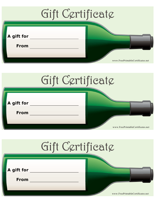 """""""Wine Gift Certificate Templates"""" Download Pdf"""