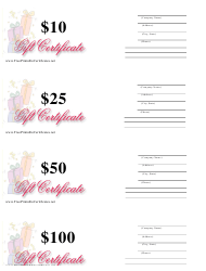 """""""10, 25, 50 & 100 Dollar Gift Certificate Templates - Pastels"""""""
