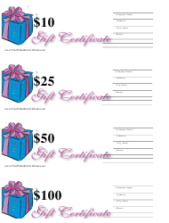 """10, 25, 50 & 100 Dollar Gift Certificate Templates - Blue and Pink"""
