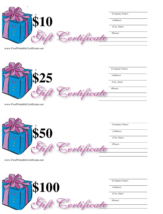 """""""10, 25, 50 & 100 Dollar Gift Certificate Templates - Blue and Pink"""" Download Pdf"""