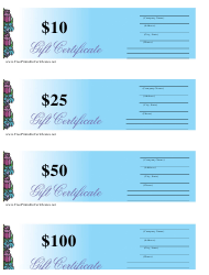 10, 25, 50 & 100 Dollar Blue Gift Certificate Templates