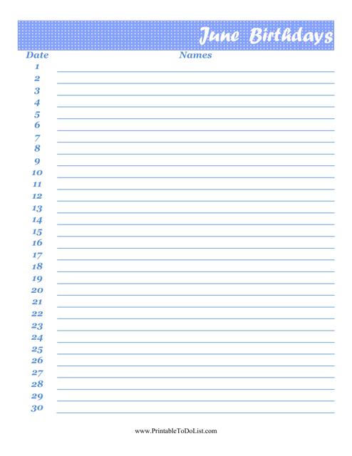 """June Birthday Calendar Template"" Download Pdf"