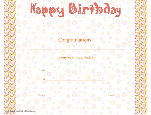 """Birthday Certificate Template"" Download Pdf"