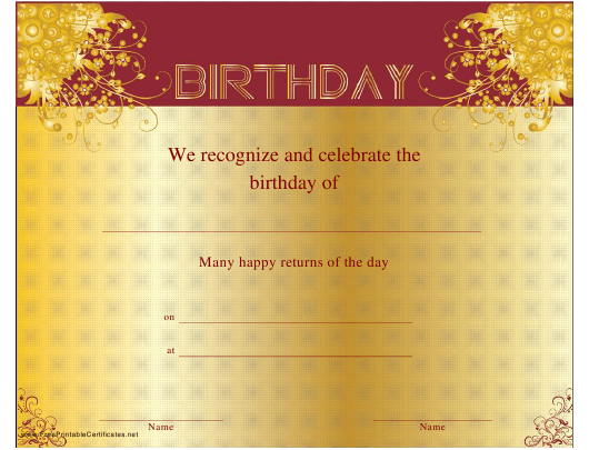 """""""Birthday Certificate Template"""" Download Pdf"""