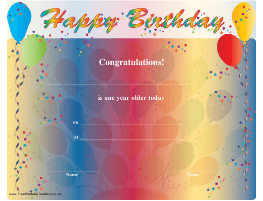 """""""Happy Birthday Certificate Template"""" Download Pdf"""