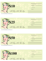"""""""SPA Gift Certificate Templates"""""""