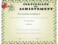 """Business Certificate of Achievement Template"""