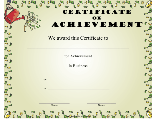 """""""Business Certificate of Achievement Template"""" Download Pdf"""