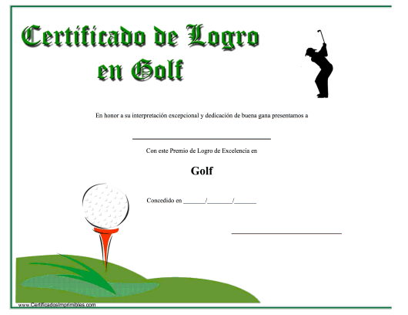 """""""Certificado De Logro En Golf"""" (Spanish) Download Pdf"""