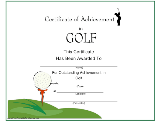 """Golf Certificate of Achievement Template"" Download Pdf"