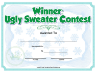 """Ugly Sweater Contest Award Certificate Template"""