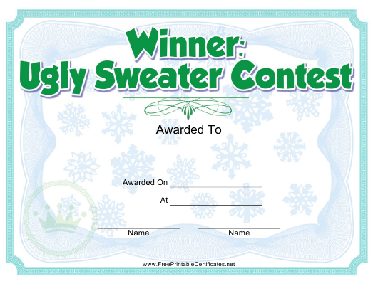 """""""Ugly Sweater Contest Award Certificate Template"""" Download Pdf"""