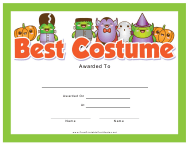 """Best Costume Award Certificate Template"""