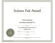 """Science Fair Award Certificate Template"""