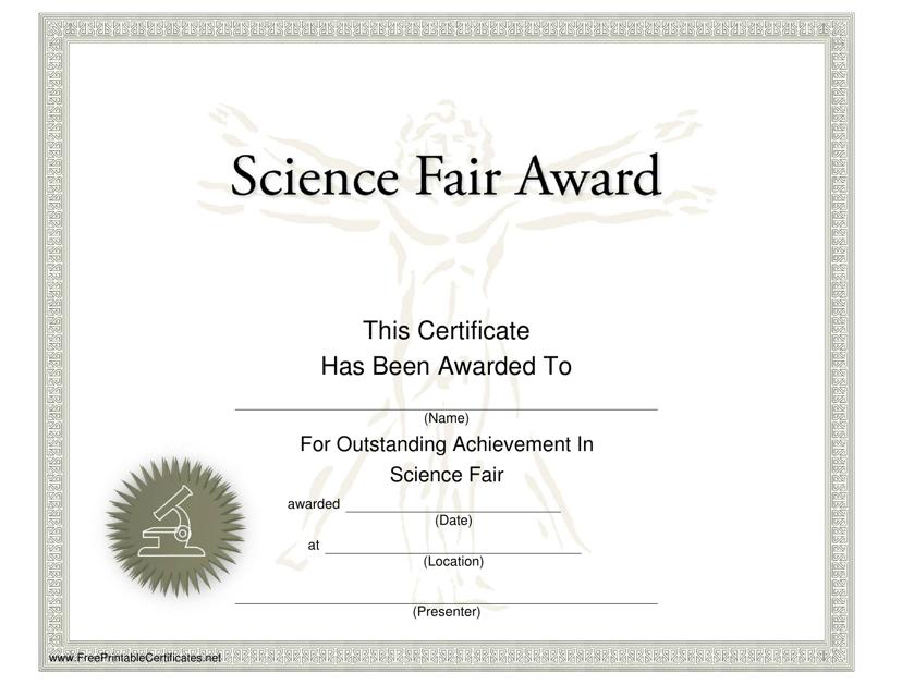 """Science Fair Award Certificate Template"" Download Pdf"