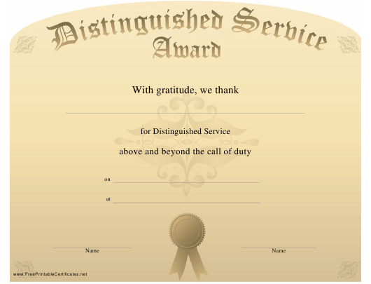 distinguished service award certificate template download