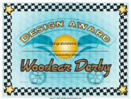 """Woodcar Derby Design Award Certificate Template"""
