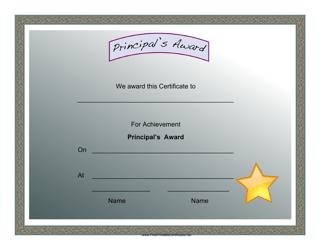 """Principal's Award Certificate Template"""