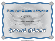 """Space Derby Pocket Design Award Certificate Template"""
