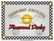 """Pinewood Derby Design Award Certificate Template"""
