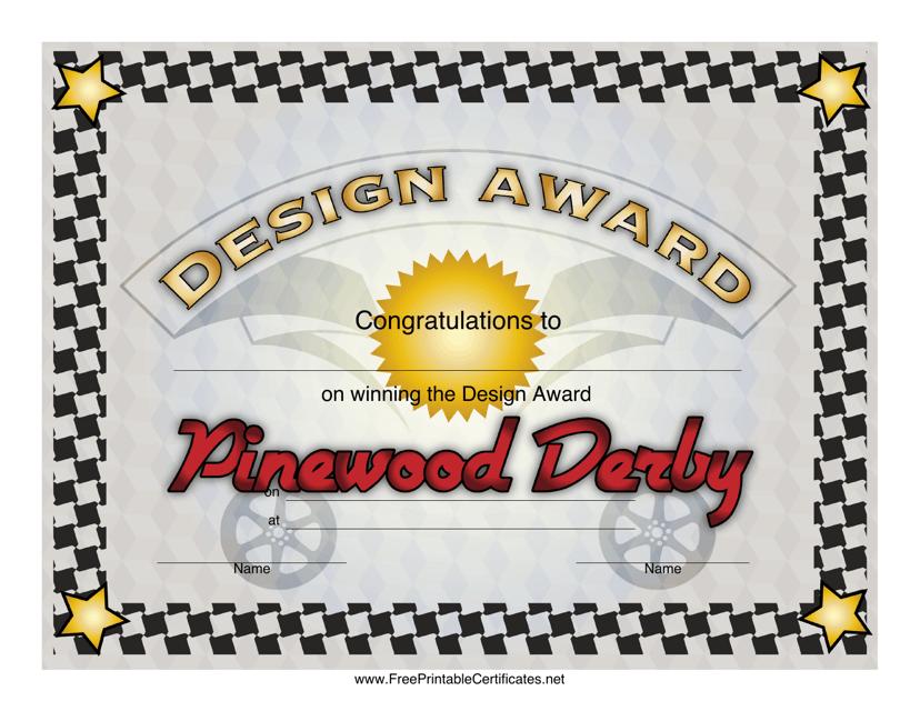"""Pinewood Derby Design Award Certificate Template"" Download Pdf"