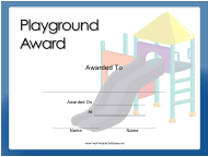 """Playground Award Certificate Template"""