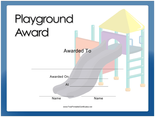 """""""Playground Award Certificate Template"""" Download Pdf"""