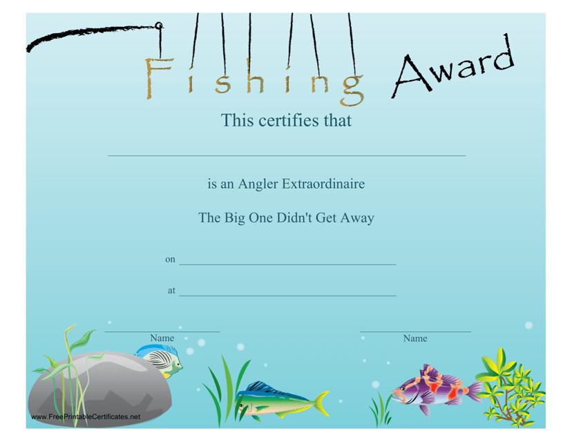 """Fishing Award Certificate Template"" Download Pdf"