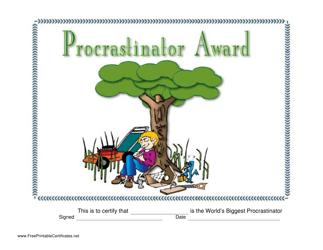 """""""Procrastinator Award Certificate Template"""""""