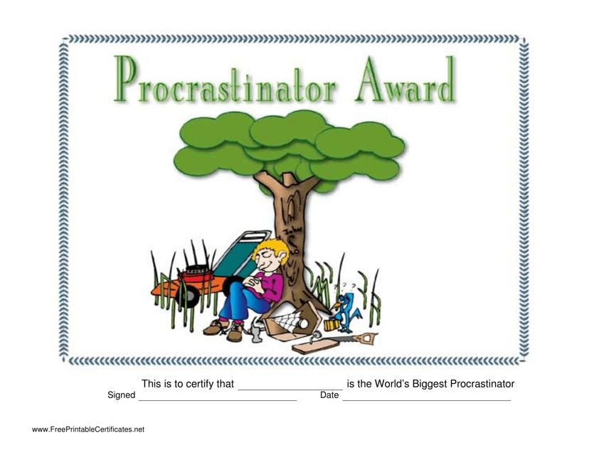 """Procrastinator Award Certificate Template"" Download Pdf"