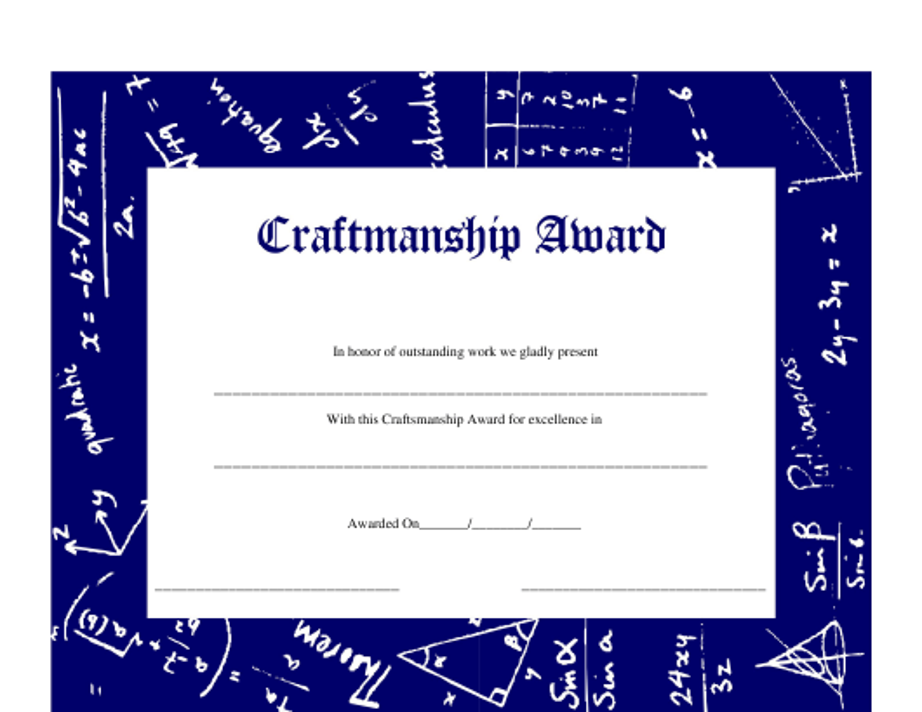 """Craftsmanship Award Certificate Template"" Download Pdf"