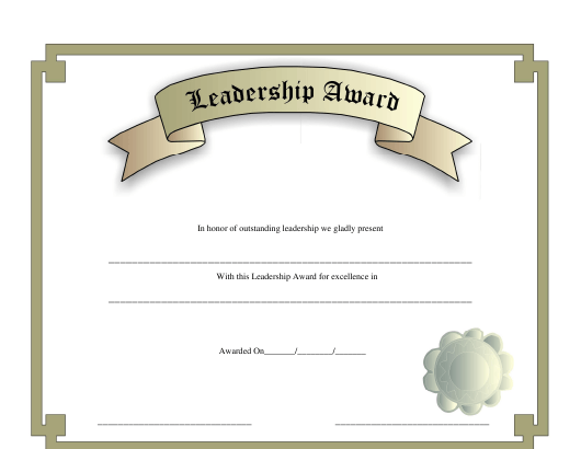 """Leadership Award Certificate Template"" Download Pdf"