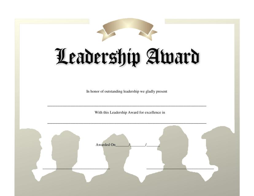 """""""Leadership Award Certificate Template"""" Download Pdf"""