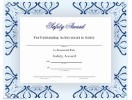 """Safety Award Certificate Template"""