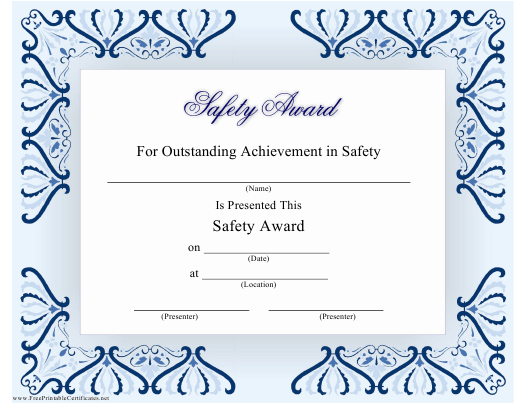 """Safety Award Certificate Template"" Download Pdf"