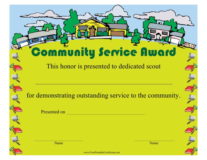 """Community Service Award Certificate Template"" Download Pdf"
