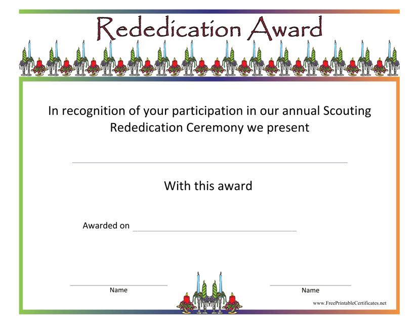 """Rededication Award Certificate Template"" Download Pdf"