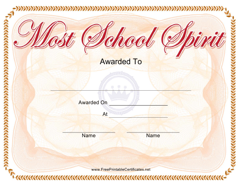 """Most School Spirit Award Certificate Template"" Download Pdf"