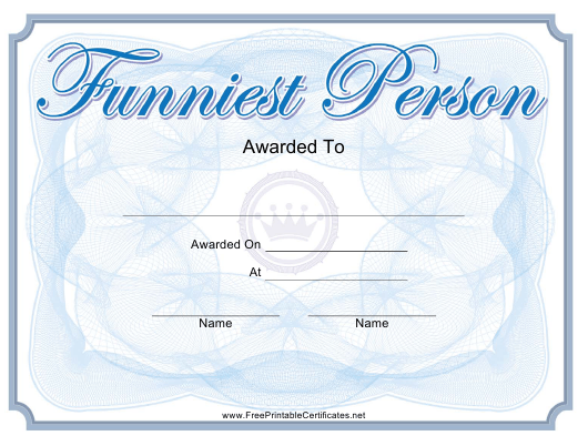 """Funniest Person Award Certificate Template"" Download Pdf"