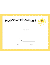 Homework Award Certificate Template