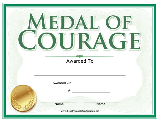 """""""Medal of Courage Award Certificate Template"""" Download Pdf"""