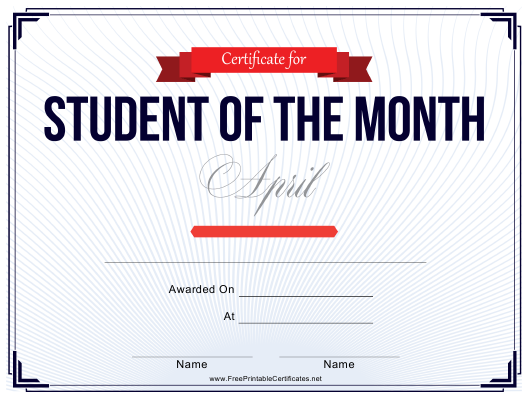 """""""Student of the Month Certificate Template - April"""" Download Pdf"""